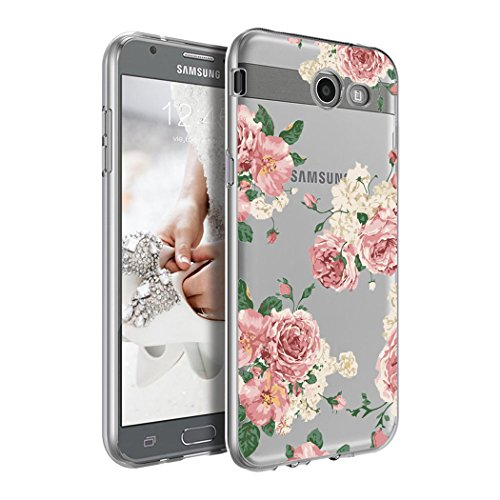 Galaxy J7 2017 Case, J7 Prime, J7 2017(at&T), J7 Sky Pro, J7 Perx case, Ueokeird Clear Soft Flexible TPU Watercolor Flowers Floral Printed Back Cover for Samsung Galaxy J7 V 2017 (Pink Flowers)
