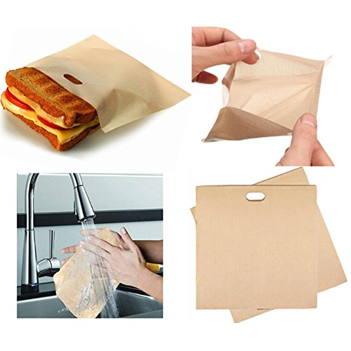 20 Pcs, Non-Stick Reusable Toaster Bags, Heat Resistant, Gluten Free, FDA Approved, Perfect for Grilled Cheese Sandwiches, Chicken, Nuggets, Panini and Garlic Toasts by CASAFE (Image #2)