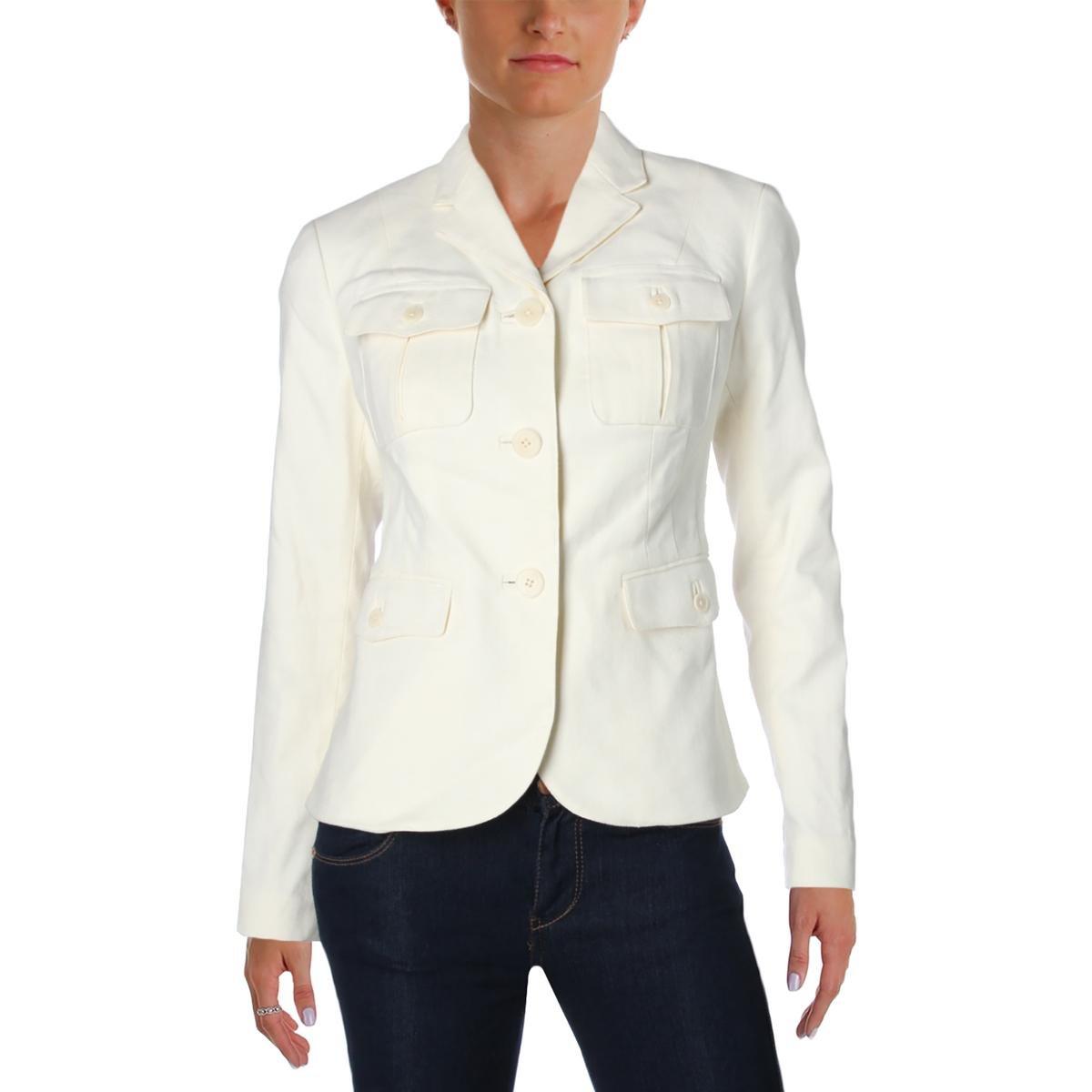 Ralph Lauren Womens Long Sleeve Button-Up Casual Blazer White 16