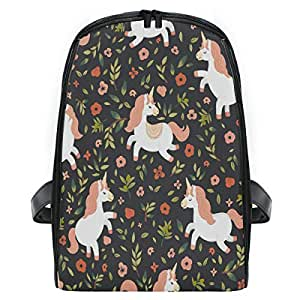 ZZXXB Unicorn Floral Backpack Kids Toddler Child Preschool Kindergarten Waterproof Book Bags Travel Daypack for Boys and Girls