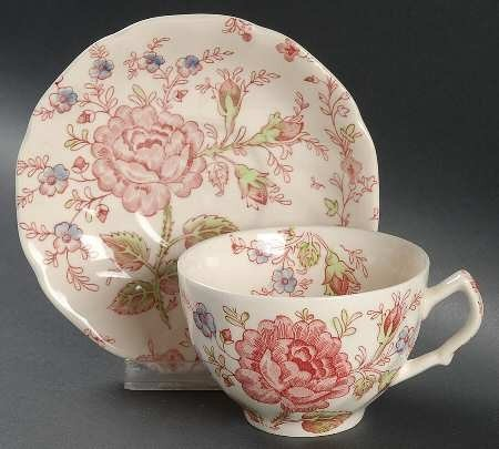Johnson Brothers Rose Chintz - Johnson Brothers Rose Chintz Pink Low Teacup and Saucer