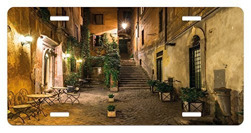 zaeshe3536658 Italian License Plate, Old Courtyard Rome Italy Cafe Chairs City Historic Ambience Houses Street, High Gloss Aluminum Novelty Plate, 6 X 12 Inches, Orange Brown Green