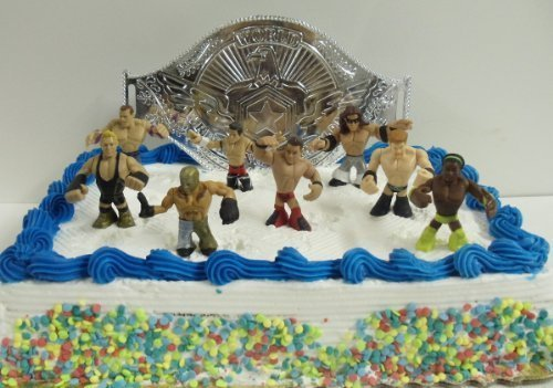 (WWE Wrestler Rumblers Wrestling Birthday Cake Topper Set Featuring 8 RANDOM WWE Rumbler Figures and Unique Wrestling Championship Belt Cake Decorative)