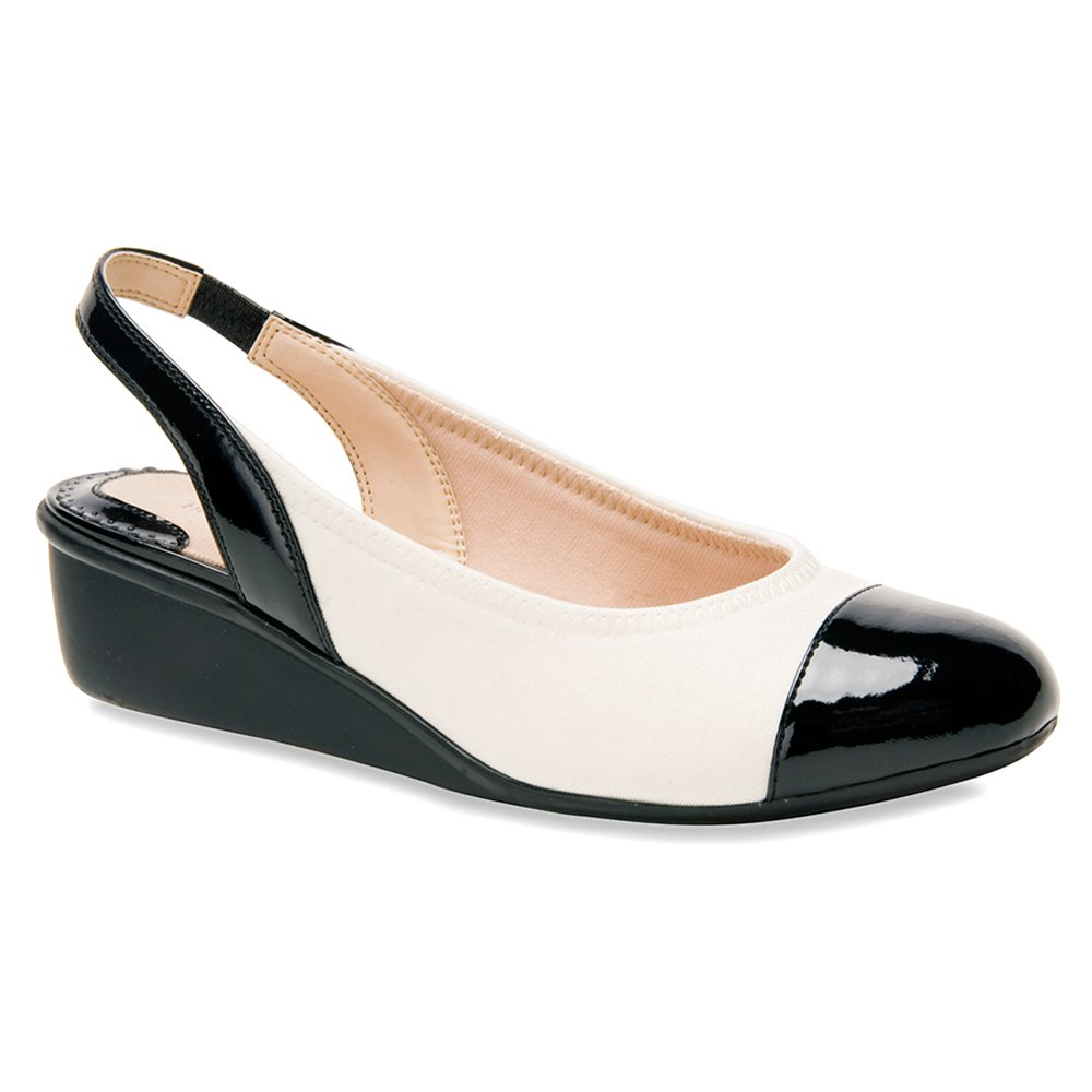 Ros Hommerson Women's Emma Wedge Sandals B00IZHG298 7.5 B(M) US|Ivory Stretch / Black Patent