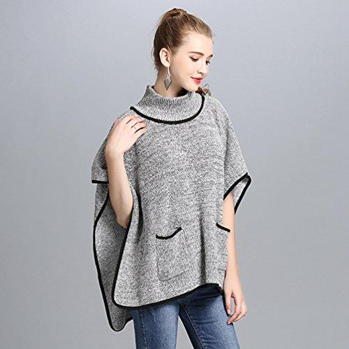 Cuello Chaquetas Mujer Suéter Pulóver Cómodo Elegante Gris Chal Para Mujeres De WanYang Casual Y Punto Alto qazTT