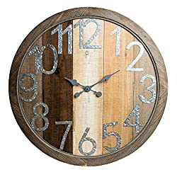 36 Rustic Wood Shiplap and Metal Framed Wall Clock