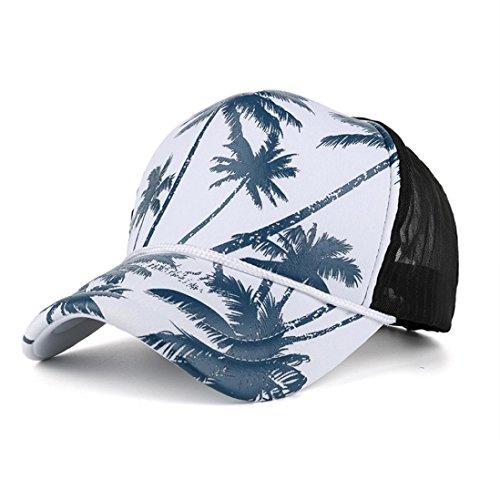 Besooly Women Men Baseball Cap Coconut Tree Printing Snapback Hip Hop Flat Hat Hawaiian Outdoors Sunhat (Printing Wool)