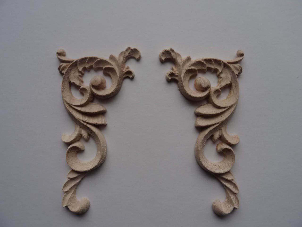 Decorative wooden corner scrolls x 2 applique onlay furniture