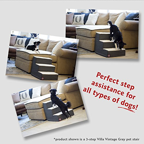 Majestic Pet Portable Pet Stairs | Soft Sherpa Foam Feeling Step | Steps for Dogs & Cats | Puppy & Kitty Ramp | Perfect for Bed & Sofa