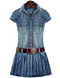 Women's Summer Slim Fit Belted Denim Jeans Jumpsuit Short Dress Plus Size