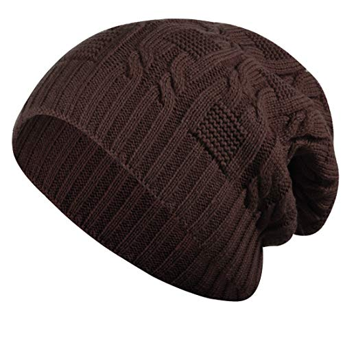 ISEYMI Double Layer Women's Solid Color Knitted Beanie Hat Slouchy Hat Winter Warm Skullies Cap, Brown, F ()
