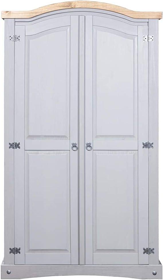 vidaXL Kiefer Kleiderschrank Mexiko-Stil Corona 2 Türen Weiß Garderobenschrank