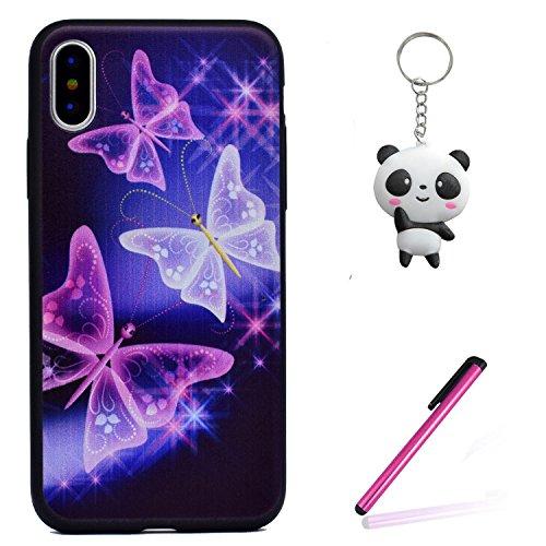 Coque iPhone X Star Butterfly Premium Gel TPU Souple Silicone Protection Housse Arrière Étui Pour Apple iPhone X / iPhone 10 (2017) 5.8 Pouce + Deux cadeau