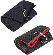 Vetoo Tri-fold Golf Towel | Premium Microfiber Fabric | Waffle Pattern | Heavy Duty Carabiner Clip for Hanging