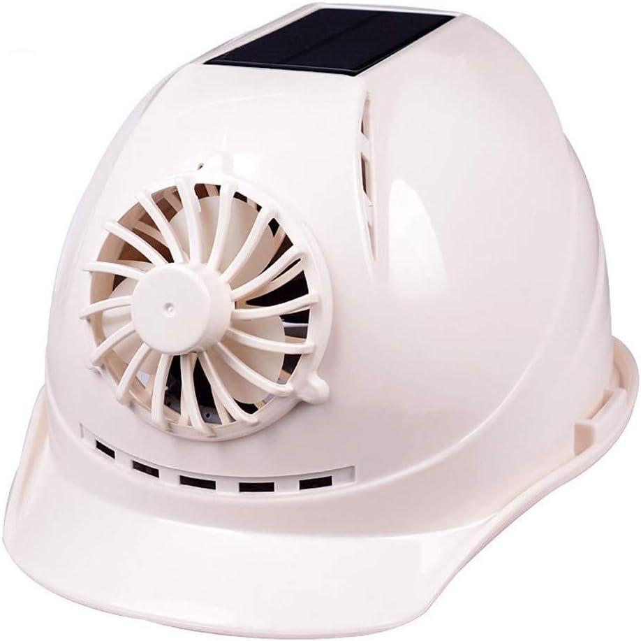 wei wei-outdoor equipment Casco de Seguridad Casquillo Protector Casco Solar Adecuado para Trabajos de construcción con Ventilador Casco estándar Cuatro Colores Opcionales,White