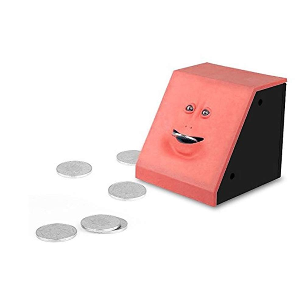 Simple Pratical Supplies 1PC Creative Automatic Chewing Piggy Bank Novelty Money Cash Saving Safe Box Face Piggy Bank Gift Kids(Red) Chusea