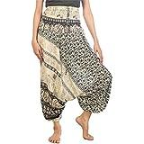 Lofbaz Women's Floral Elephant Harem Pants Smocked Jumpsuit Black M
