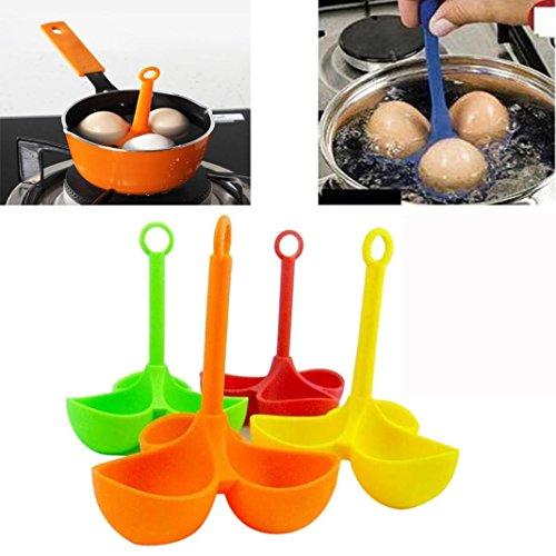 Price comparison product image Hot Sale! AMA(TM) Silicone 3 Eggs Holder Boiler Cooking Egg Boiler Egg Cooker Holder Poacher Dipper Boiler (Random)