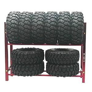 LAFEINA Metal Tires Shelf Tyre Rack for 1/10 Tire Wheel Rims RC Rock Crawler Car and Drift Car (Red)