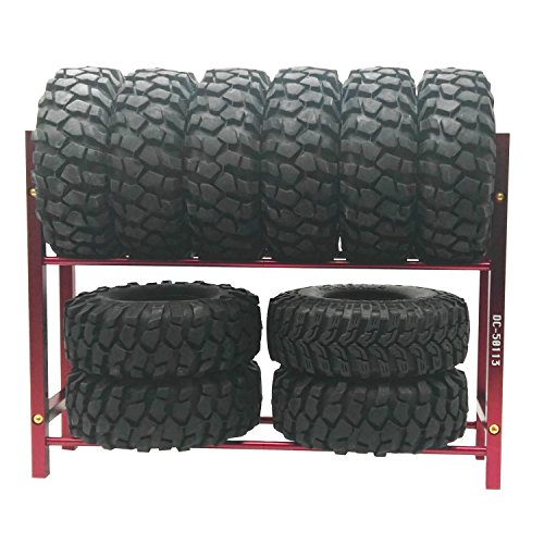 LAFEINA Metal Tires Shelf Tyre Rack for 1/10 Tire Wheel Rims RC Rock Crawler Car and Drift Car (Red)