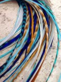 ''Navajo'' Collection Genuine 100% Real Bohemian Hair Feather Extensions. 13 PCS KIT includes 6 individual hair feathers.