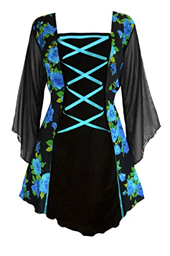 Dare To Wear Victorian Gothic Boho Women's Plus Size Mandarin Corset Top Teal Rose 2x