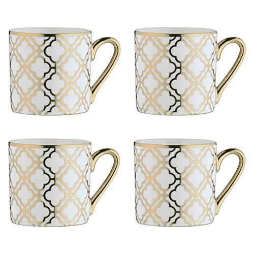 BIA 993012+1806PK4 Electroplated Mugs Espresso Cups, Porcelain, 100 milliliters