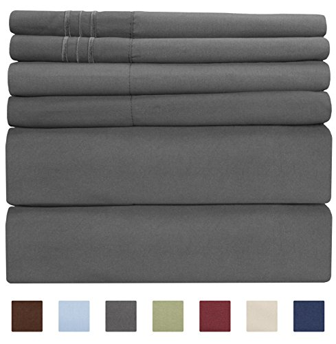 King Size Sheet Set - 6 Piece Set - Hotel Luxury Bed Sheets - Extra Soft - Deep Pockets - Easy Fit - Breathable & Cooling Sheets - Wrinkle Free - Comfy - Gray - Grey Bed Sheets - Kings Sheets - 6 PC (Bed Sheets Cotton Pima)