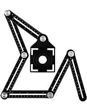 Universal Angle Adjustment Ruler Multi-Angle Metal Measuring Tool - Aluminum Alloy Multifunction Ruler - Ultimate Angle Tool (4 Sides Black)