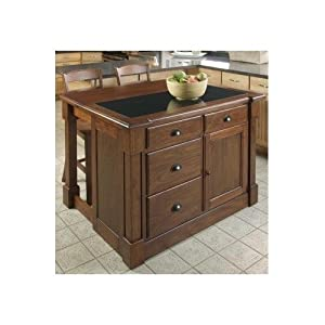 rustic large kitchen island cart granite counter top 2 wood table height stools storage. Black Bedroom Furniture Sets. Home Design Ideas
