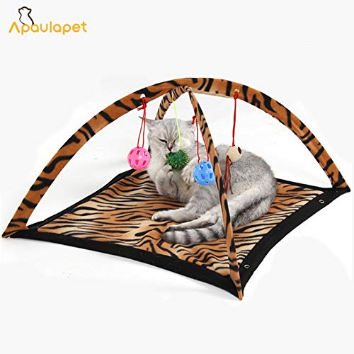 Apaulapet Pet Cat Bed Toys Mobile Activity Playing Bed, Toys Cat Bed Pad Blanket House, Pet Furniture Cat Tent Toys