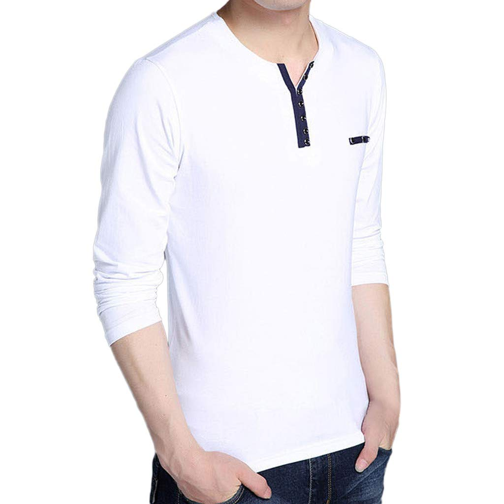 GREFER Men's Tops Fashion Long Sleeved T Shirt Button Cotton Blouse Men Gifts White by GREFER