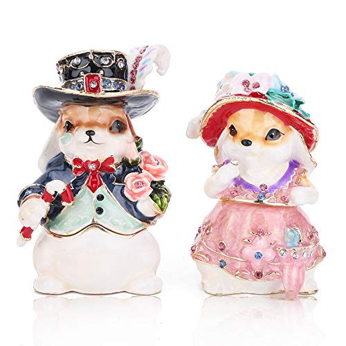THREE FISH CRYSTAL 2 Pcs Hand Painted Crystal Trinket Box | Hand-Painted Jewelry Holder with Elegant Crystals |Collectible Figurine & Decorative Living Room Jewelry Holder