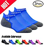Thirty 48 Ultralight Athletic Running Socks for Men and Women with Seamless Toe, Moisture Wicking, Cushion Padding (Large - Women 9-10.5//Men 10-11.5, [3 Pairs] Blue/Gray)