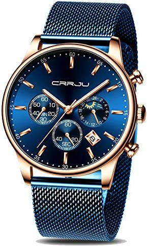 CRRJU Men s Watches Auto Date Chronograph Watch Men Sports Watches Waterproof 30M Full Steel Quartz with Mesh Strap