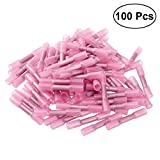 Pixnor Butt Connectors,Heat Shrink,15-24 AWG Crimp And Seal,100-Pack(Pink)