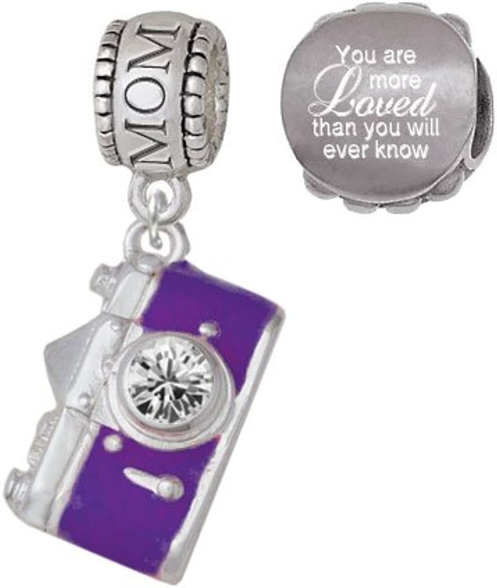 Set of 2 Delight Jewelry Purple Camera Family Charm Bead with You Are More Loved Bead