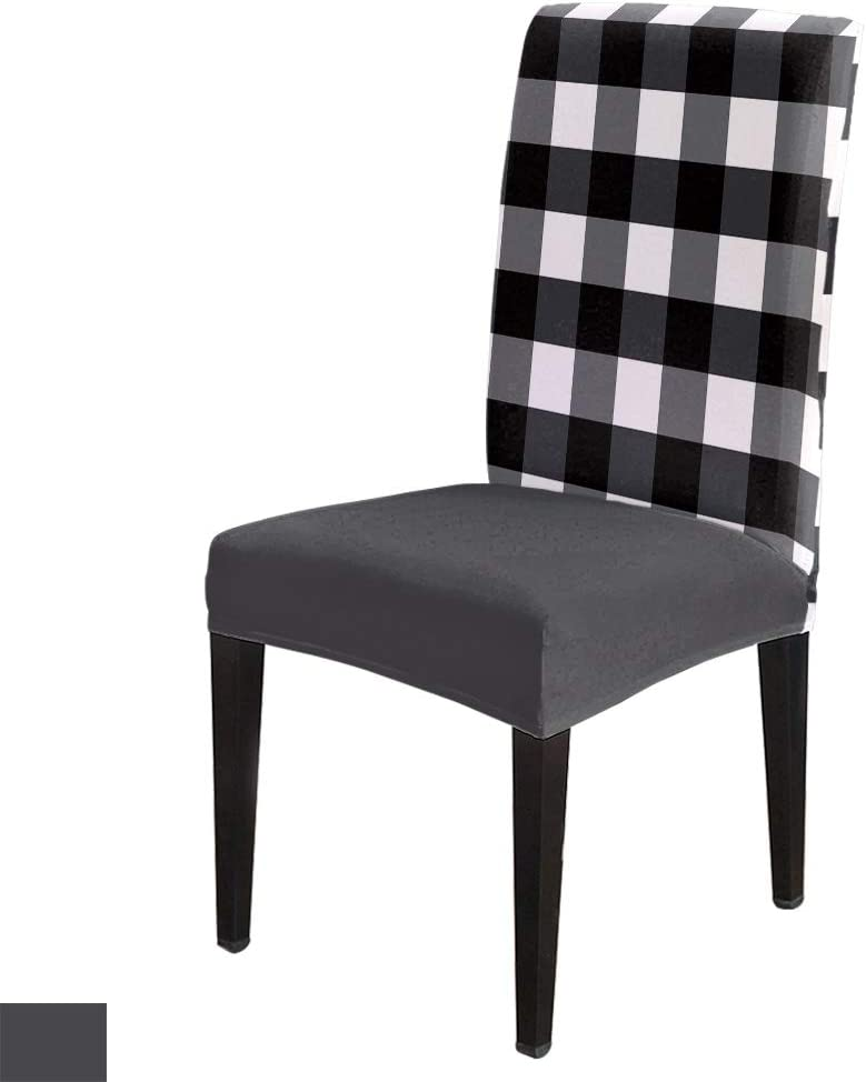 6Pcs Dining Chair Covers Protector Stretch Removable Washable Seat Cushion Slipcover,Buffalo Plaid Black and White Checker Seat Cover Spandex for Dining Room Restaurant Hotel,Tartan Check Lattice