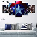 [LARGE] Premium Quality Canvas Printed Wall Art Poster 5 Pieces / 5 Pannel Wall Decor Movie Hero Painting, Home Decor Pictures - With Wooden Frame
