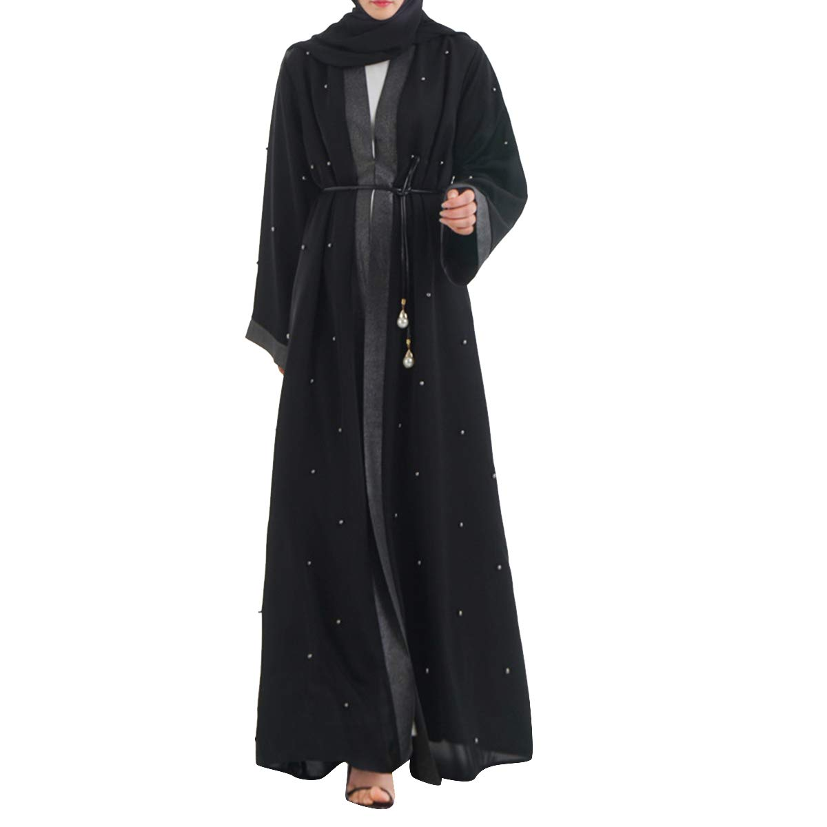 Black Alsjigytrmx Rivet Patchwork Cardigan Long Sleeve Floor Length Lace Up Ethnic Women's Robes