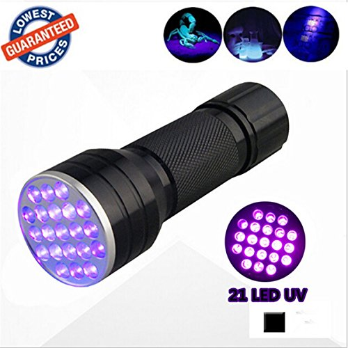 The Wolf Moon®21 LED UV Light 395nm Ultraviolet Flashlight Blacklight to Authenticate Currency