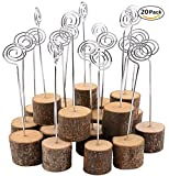 K.MAX Rustic Real Wood Base Photo Clip,Table Card Holders for Wedding Party Decoration (20 pack)