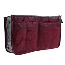 Zenmil® Portable and Compact 13 Pockets Handbag Pouch Bag in Bag Organiser Insert Organizer Tidy Travel Cosmetic Pocket with Handles Multiple Pockets to Classify Your Personal Stuff (Wine Red)
