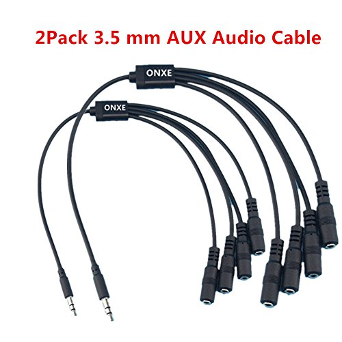 Speaker and Headphone 3.5 mm AUX Audio Cable Splitter,3.5mm Male to 2 3 4 X Female for Connecting External Speakers or use both Output for External Speakers (2Pack) 3 Way Microphone Splitter