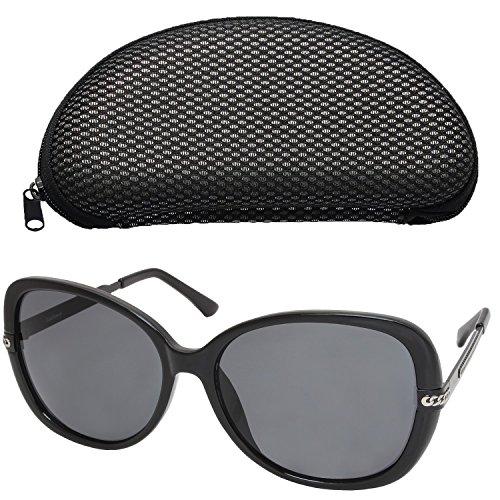 Polarized Sunglasses for Women, Oversized 58mm Gray Lens, Black Frame, Fashion Driving Eye Sunglasses with Case