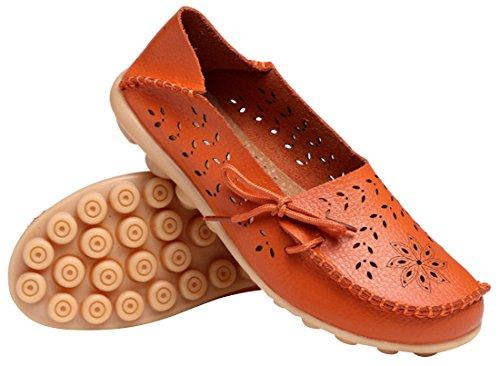 UJoowalk Frauen Leder Rindsleder aushöhlen Casual flache Fahr Schuhe Slipper Orange