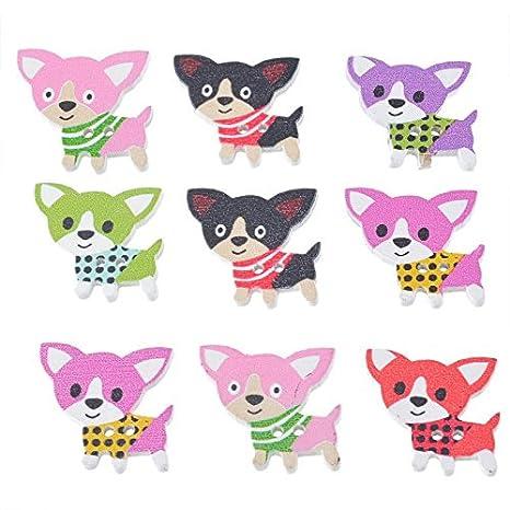 ChenXi Shop 50 piezas de madera lindo Fox colores mezclados ...