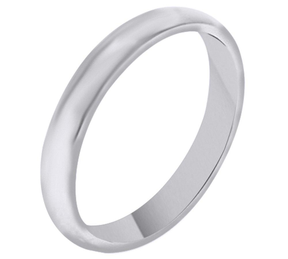 Solid 14K White Gold 3MM Comfort Fit Men & Women Wedding Band Ring