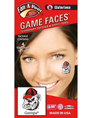 University of Georgia (UGA) Bulldogs – Waterless Peel & Stick Temporary Spirit Tattoos – 4-Piece – Athletic Bulldog Mark -
