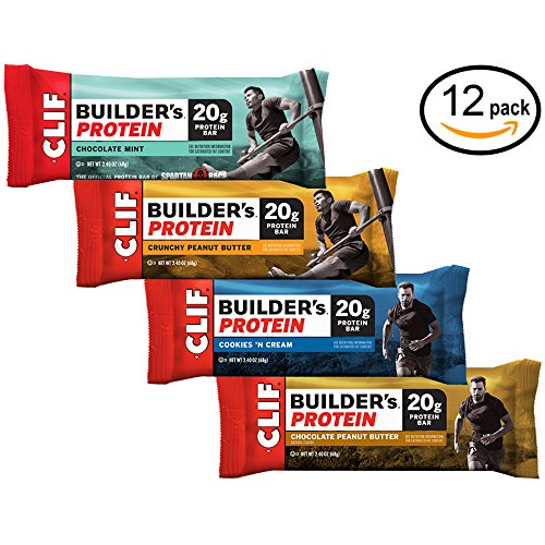 CLIF BUILDER'S Protein Bar - Crunchy Peanut Butter, Chocolate Peanut Butter, Chocolate Mint, Cookies and Cream (Variety Pack, 12 (Clif Builders Bar Chocolate)